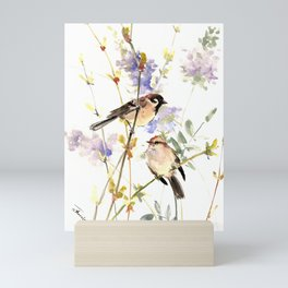 Sparrows and Spring Blossom Mini Art Print