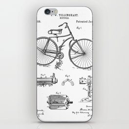 Bicycle Patent - Cyclling Art - Black And White iPhone Skin