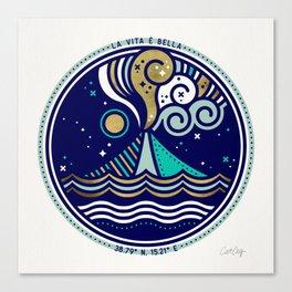 La Vita è Bella – Mediterranean Volcano in Turquoise & Gold Palette Canvas Print