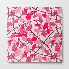 Ginkgo Leaves in Vibrant Hot Pink Tones Metal Print