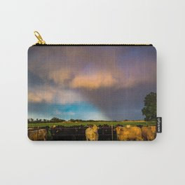 Bovine Shine - Cattle Gather on Stormy Day in Kansas Carry-All Pouch
