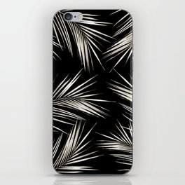 White Gold Palm Leaves on Black iPhone Skin