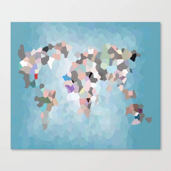 Travel Map Geometric Abstract of the World Canvas Print