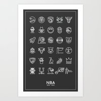 nba Art Prints featuring NBA Team logos (white) by Will Wild