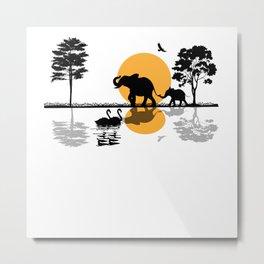 Africa Safari Elephant Family Motif Metal Print