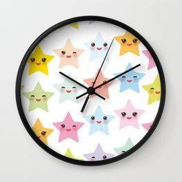 Kawaii stars pattern, face with eyes, pink green blue purple yellow Wall Clock