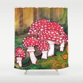 Mushrooms in the Woods Shower Curtain