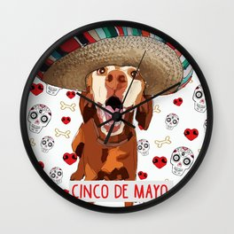 Cinco de Vizsla Dog Wall Clock