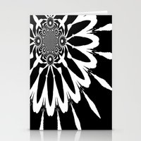blankets Stationery Cards featuring Black & White Modern Flower by 2sweet4words Designs