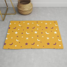 Orange background with purple and white moon and star pattern Rug