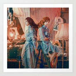 The circus twins - Romantic freak show character portrait Art Print