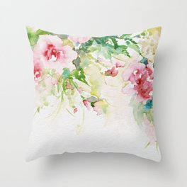 Cascading roses -Watercolor Throw Pillow
