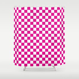 Pink Checkerboard Pattern Shower Curtain