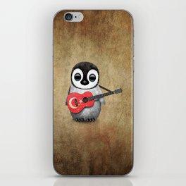 Baby Penguin Playing Turkish Flag Guitar iPhone Skin