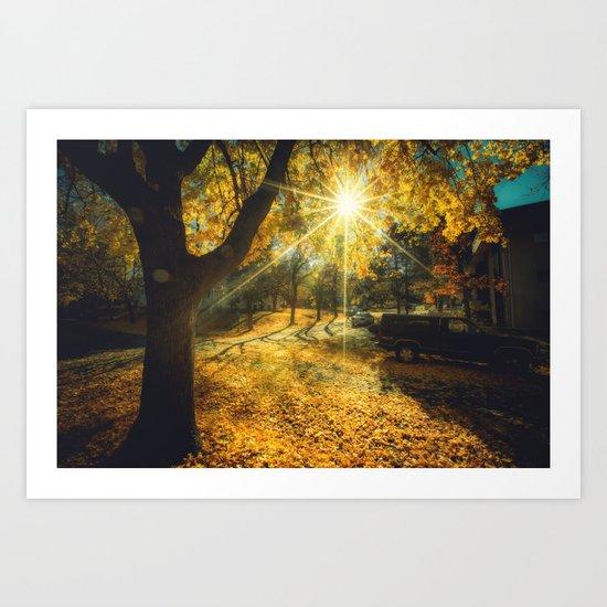 The Last Weekend of Calming Yellow Autumn Art Print
