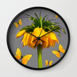 BUTTERFLIES YELLOW CROWN IMPERIAL FLOWERS Wall Clock