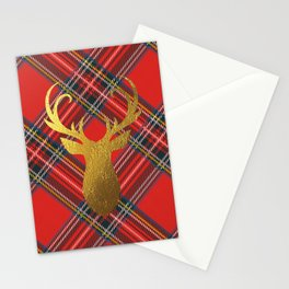 Gold Stag Head On Red Tartan Stationery Cards