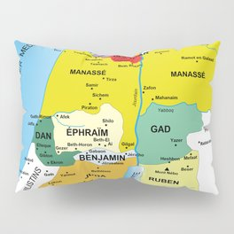 Map of Twelve Tribes of Israel from 1200 to 1050 According to Book of Joshua in French Pillow Sham