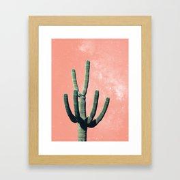 Pink Cactus Boho Mexican Framed Art Print