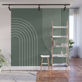 Geometric Lines in Sage Green 5 (Rainbow Abstraction) Wall Mural