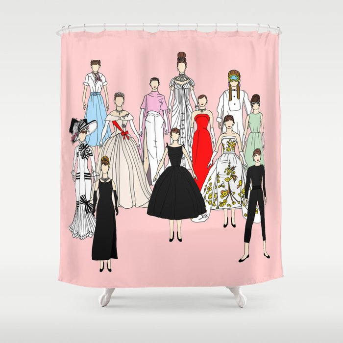 Audrey Hepburn Think Pink Outfits Fashion Shower Curtain