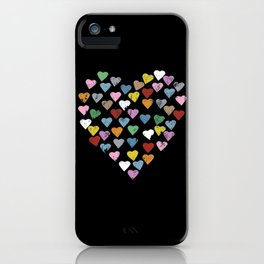 Distressed Hearts Heart Black iPhone Case