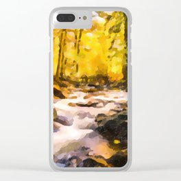 Wild waterfalls flowing through a forest Clear iPhone Case
