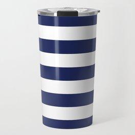 Navy Blue and White Stripes Travel Mug