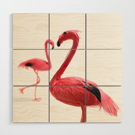 Pink Flamingos with Heart Wood Wall Art