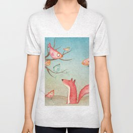 Gabriel's tales: Fox and the birds Unisex V-Neck