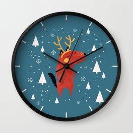 Merry Christmas Dog Card 2 Wall Clock
