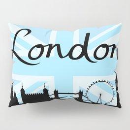 London Script on Union Jack Sky & Sites Pillow Sham