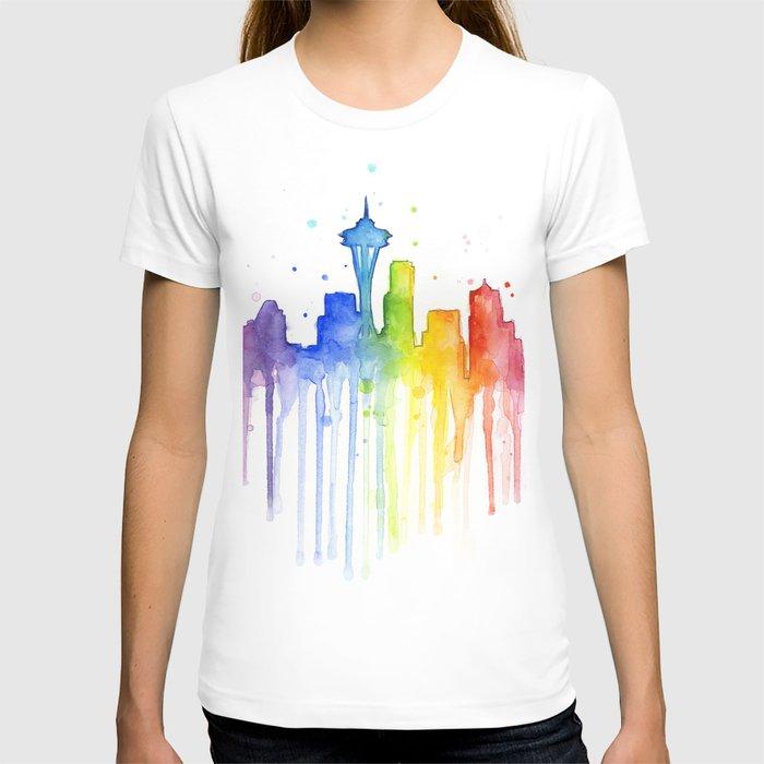 2bf06b05b8d748 Seattle Skyline Rainbow Watercolor T-shirt by olechka