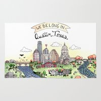 austin Area & Throw Rugs featuring We Belong in Austin by Brooke Weeber