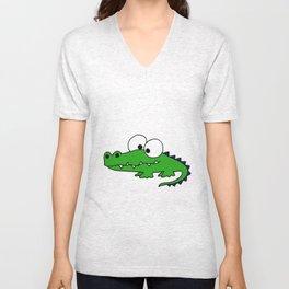 Funny Funky Green Alligator Art Unisex V-Neck