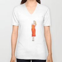 lip V-neck T-shirts featuring Orange Lip by Kelly Lindstrom