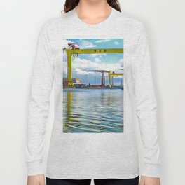 The Cranes of Belfast, Ireland. (Painting) Long Sleeve T-shirt