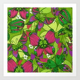 Hand Drawn Butterfly Pattern 04 Art Print