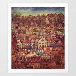 Cute City Street Scene ,Many Houses Art Print