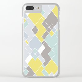 Yellow & Gray Geometric Pattern Clear iPhone Case