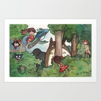 studio ghibli Art Prints featuring Studio Ghibli Crossover by malipi