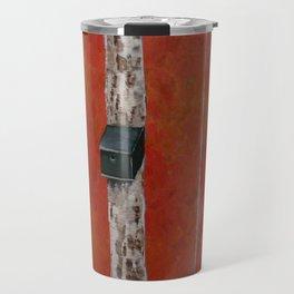 Bird House On Birch Tree Travel Mug