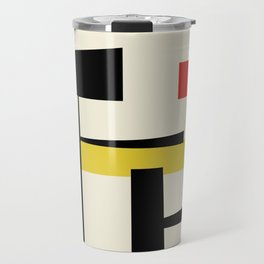 Bauhangular III - Bauhaus Style Minimalist Modern Abstract - Red Blue Yellow Black Travel Mug