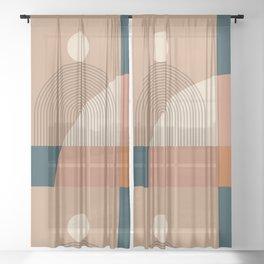 Abstraction_SUN_LINE_SHAPE_POP_ART_Minimalism_1201A Sheer Curtain