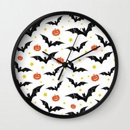 Halloween Pumpkins And Bats Wall Clock