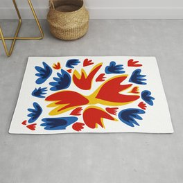Fleurs Abstract Flowers Pattern Decoration Rug