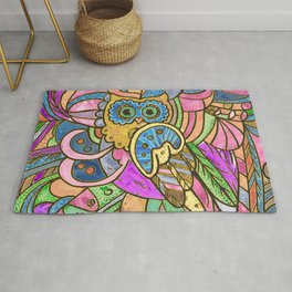 Colorful Pastel Owl Collage Rug