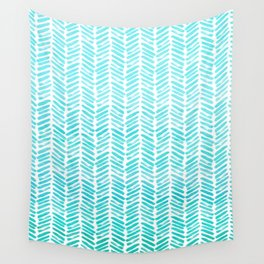 Handpainted Chevron pattern - small - light green and aqua teal Wall Tapestry