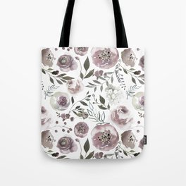dusty rose floral watercolor Tote Bag