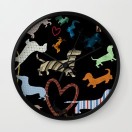 dachshund dog. love. pattern Wall Clock